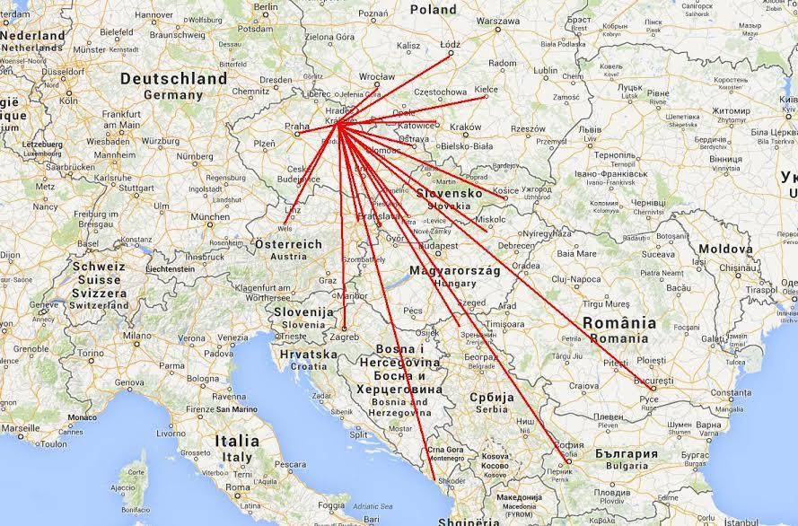 Mapa zemí, kam jezdíme